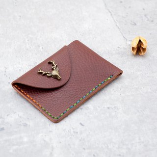 Be Two ∣ Single Button Italian Deep Maca Business Card Holder ( You Design )