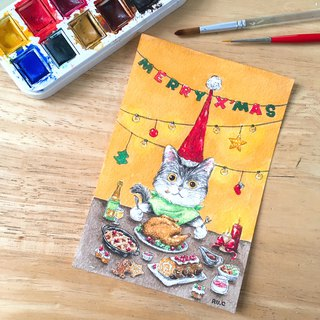 Kitten Cat Xmas Meal Christmas Card Postcard