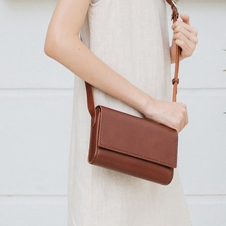 SUBMARINE-HANDMADE SMALL LEATHER SHOULDER BAG - DARK BROWN
