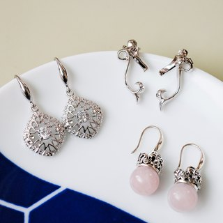 Goody Bag - Elegant Earrings Three-Piece Set 925 Sterling Silver Crown Flowing Natural Stone