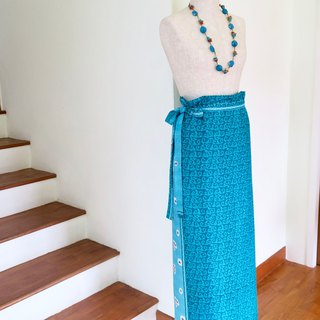 Wrap Skirt Blue Indonesian Fabric
