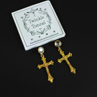 Golden Jesus cross cross earrings