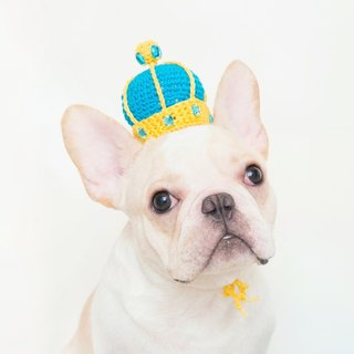 Fairy Tale Little King Pet Dog Cat Manual Knit Custom Crown - Turkish Blue