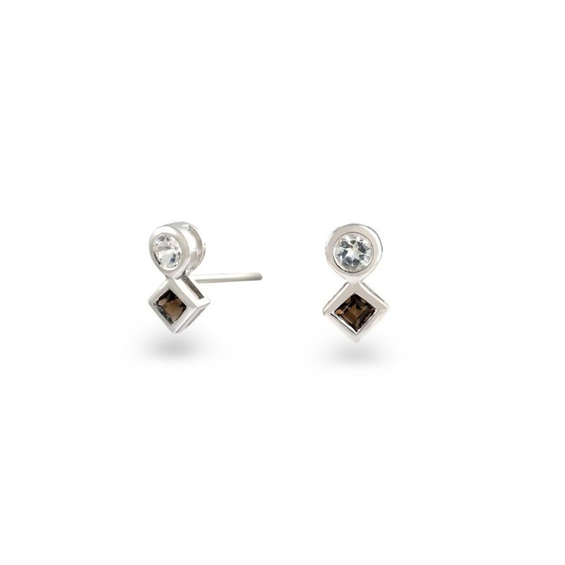 Urban Square and Round Earring with Smoky Quartz and White Topaz