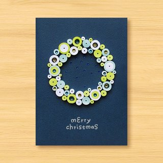 Handmade roll paper stereo card _ Cute bubble Christmas blessing wreath _C