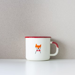 Warm heart fox enamel cup -400ml