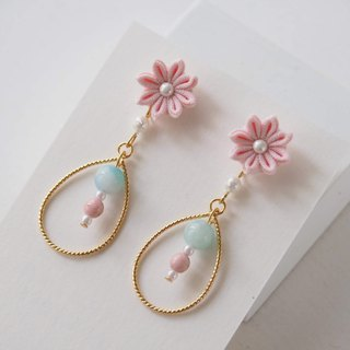 Cute Pink Flower and Natural Stone Earrings Clip-on 14KGF,S925 custom