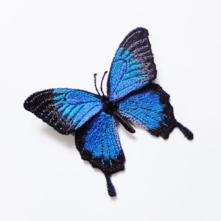 Embroidery butterfly brooch / Papilio ulysses (large)