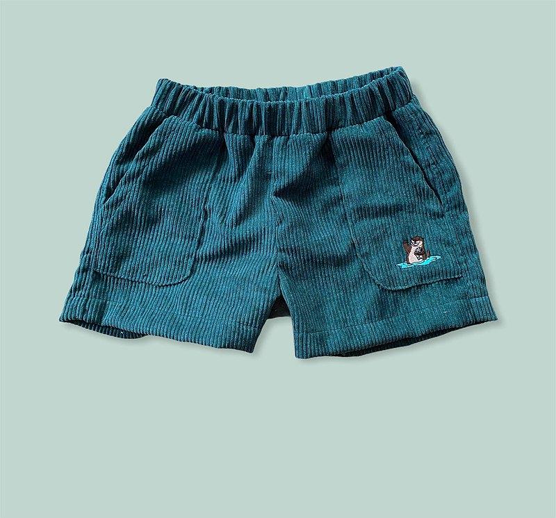 KiKi Otter森林綠色燈芯絨短褲,兩個口袋