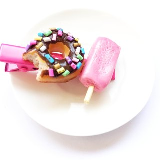 Donut + icecream hairclip