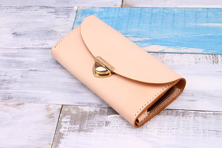 "[Tangent Pie] Genuine Leather Hand Buckle Organ ""L"" Zipper Long Wallet"