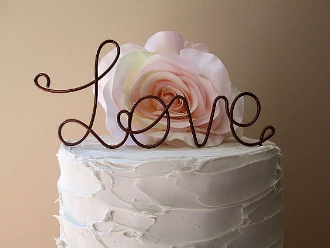 LOVE Wedding Cake Topper - Vintage Wedding Cake Topper, Shabby Chic Wedding Decoration, Wine Wedding Cake Topper,Rustic Wedding Cake Topper