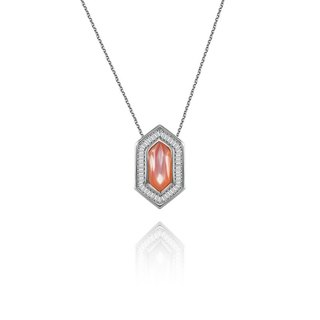Hexagonal Shape Pink Shell Diamond Necklace