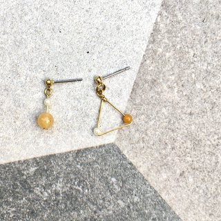Hand folding brass x topaz earrings pin/clip