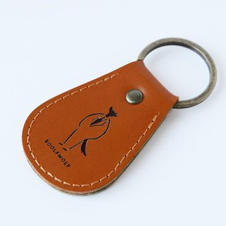 Genuine leather key ring : Moon and wolf