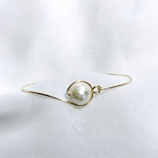 Cotton Pearl Bangle。14Kgold/Silver。