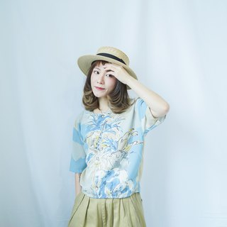 Ancient II Japanese II Remake ancient blue sky and white clouds small island short shirt II