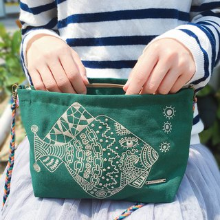 Cotton Canvas Embroidery Trapezoidal Shape Across-Body Bag - Fish with Tattoo