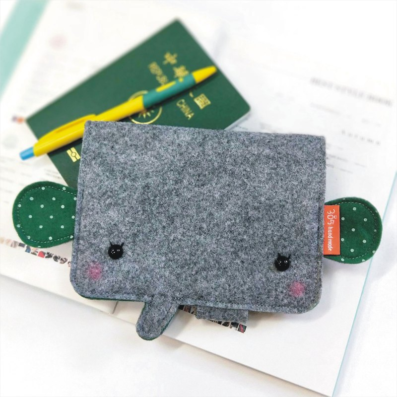 Balloon-Elephant Passport Case (dark green dot)