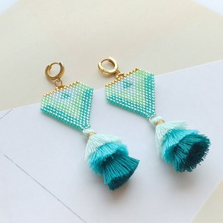 Embellish Beaded Teal Tassel Earrings