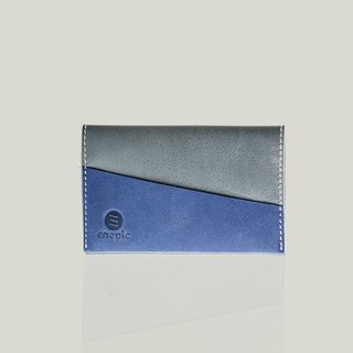 Fruko - leather business card holder - Blue / Grey