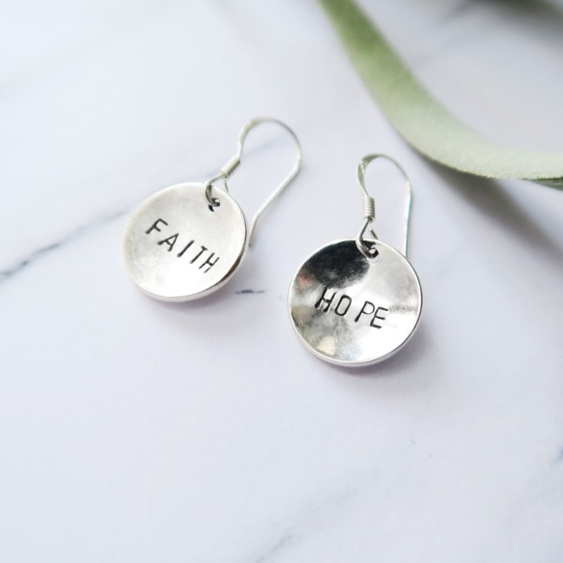 925 sterling silver curved small circle-a pair of custom letter stenciled earrings or ear clips