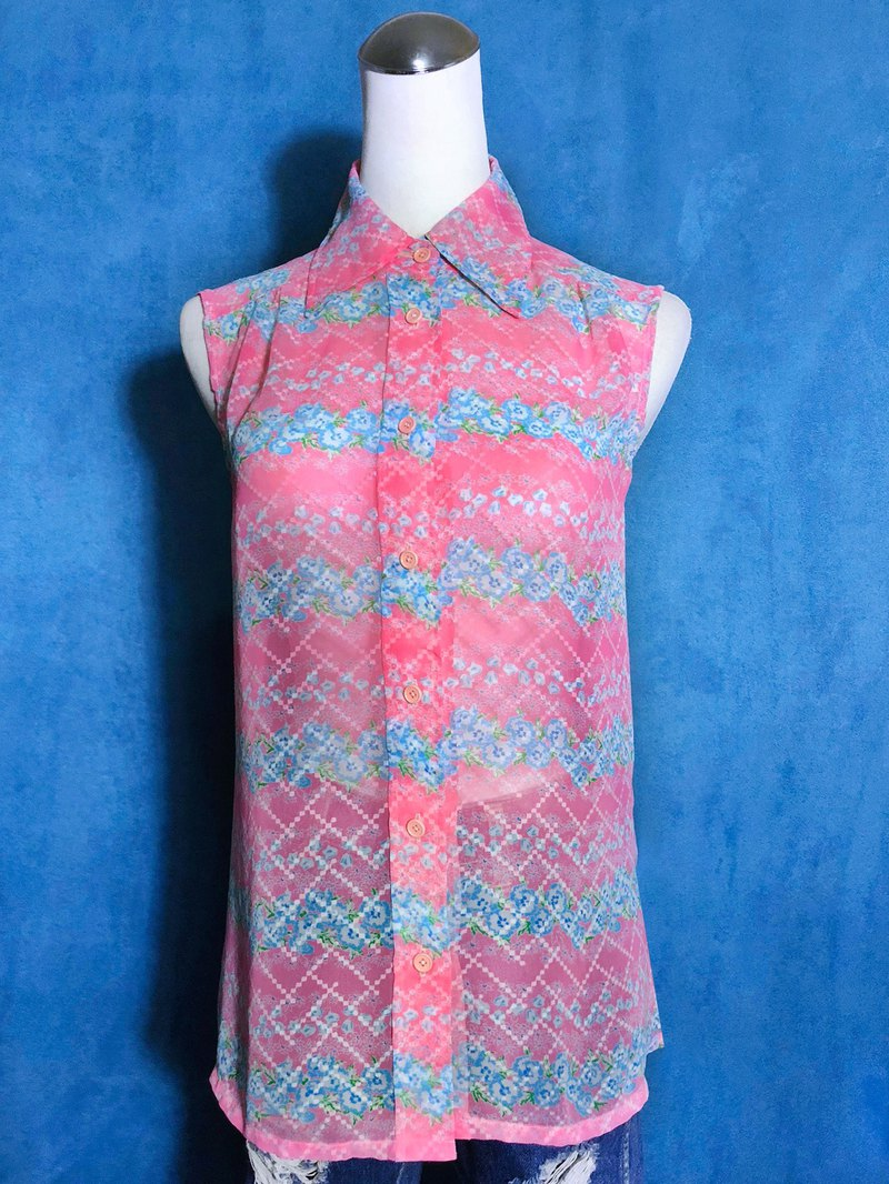 Pink flower sleeveless vintage shirt / brought back to VINTAGE abroad