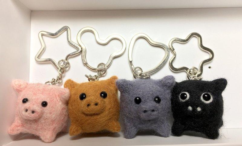 羊毛氈  胖小豬  鑰匙圈  吊飾