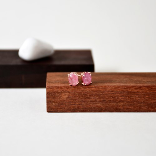 Handmade Pink Tourmaline with sterling silver Rose gold Stud Earring