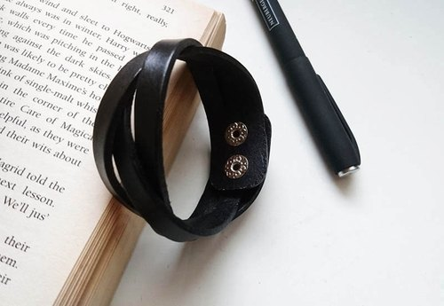 Black Fashion Woven Leather Bracelet