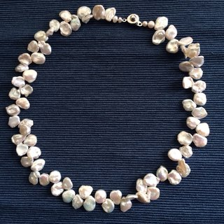 Home Design 100% Handmade Freshwater Pearl Recycled Pearl Necklace Bracelet Set
