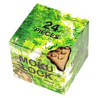 【Japan】 Wood building blocks - 24 pieces | 100% natural, no chemical processing without paint
