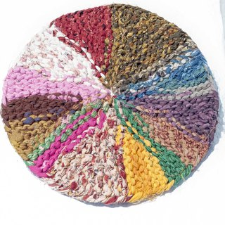 Birthday gift ethnic wind forest rainbow placemat insulation pad - recycling sari crochet round pot