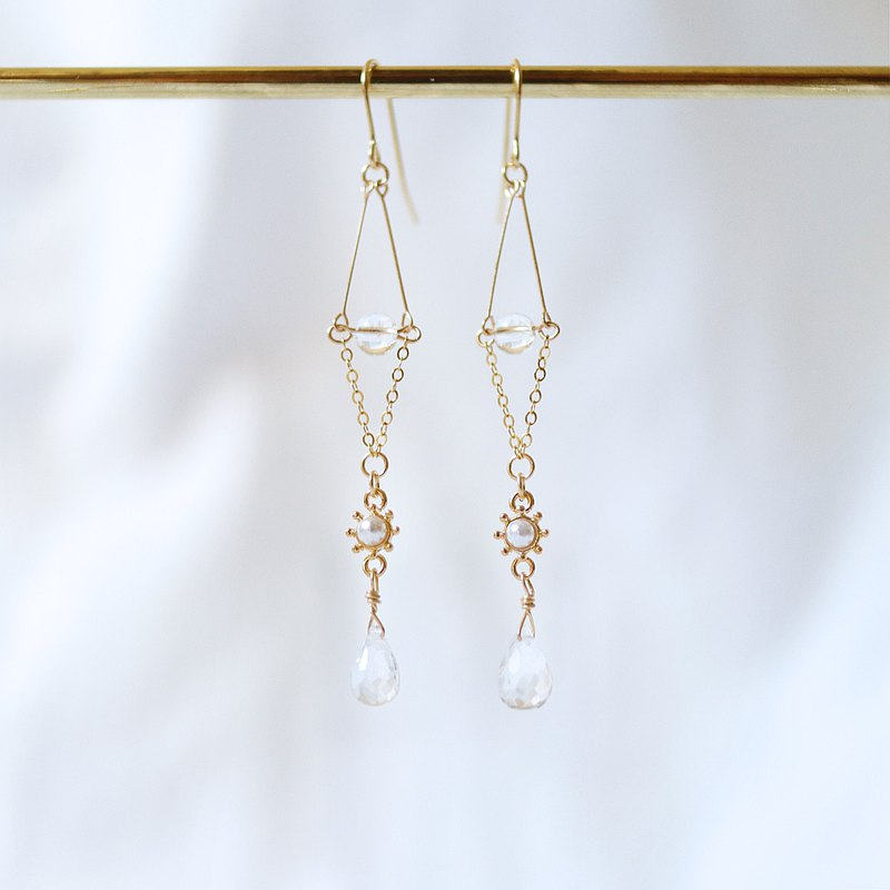 Natural stone earrings wootopaz white crystal pearl US 14KGF