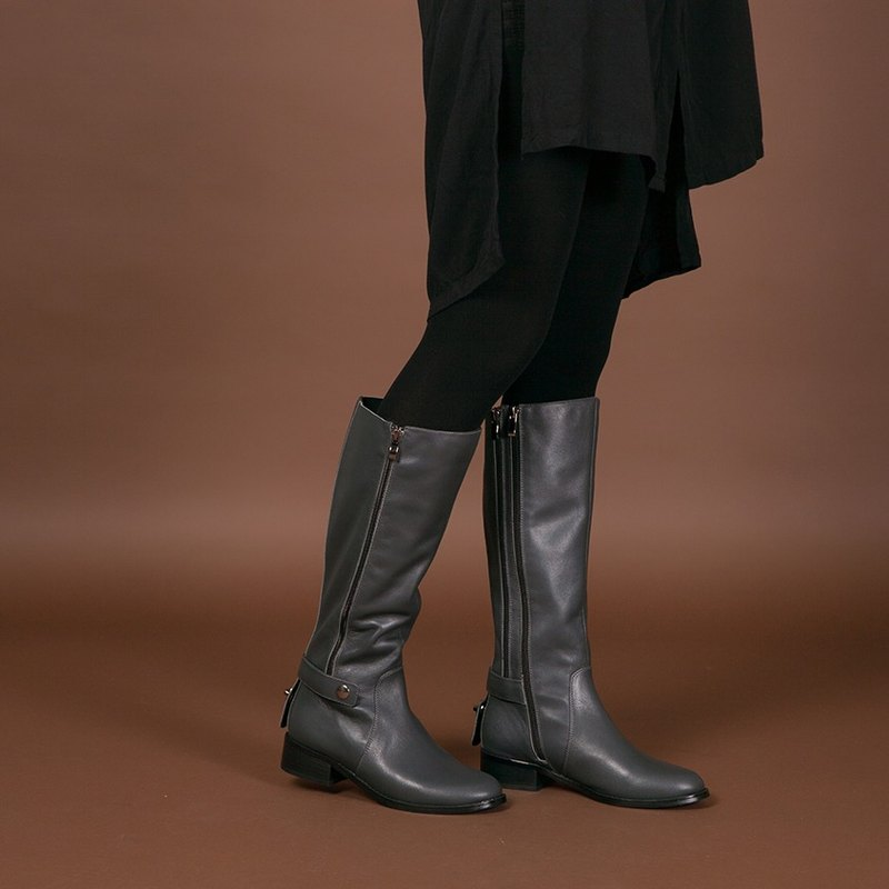 Clearance-[Multiple Souls] Side Zipper Dress Up Leather Boots _ Grey