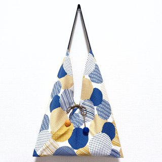 Japanese-style squat-shaped side backpack / medium size / blue and yellow circle + yellow and white points