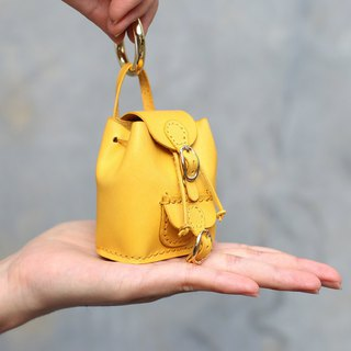 Textured small bag leather charm key ring single