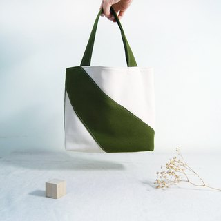 Hand made irregular stitching color block personality small tote bag - Matcha green spot