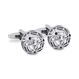 Intricate Floral Carved Cufflinks with Black Crystals