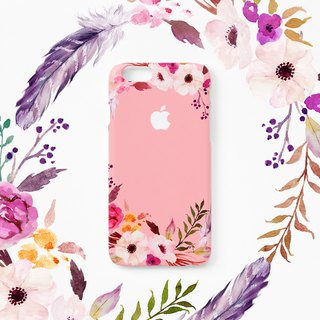 iPhone case - Pink Floral Ring (hard shell) - for iPhones - non-glossy C18