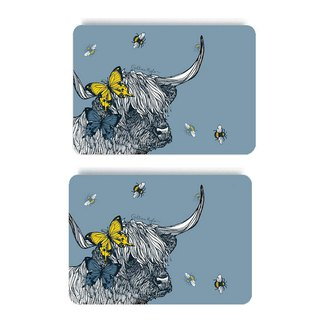 British Gillian Kyle Scottish Highland Cattle Totem Wood Placemat/Table Mat (set of two)