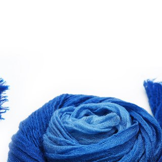 Zhuo also blue dyed - blue dyed wool wrinkle scarf