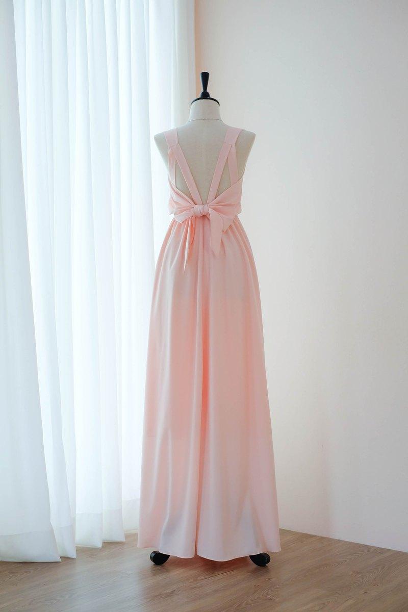 粉色腮紅伴娘禮服露背派對雞尾酒禮服