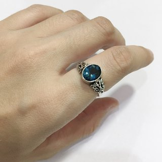 London Topaz Finger Ring Handmade in Nepal 92.5% Silver