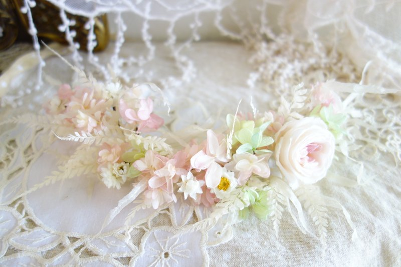 Wedding floral series ~ pink green does not fall rose hydrangea flower row