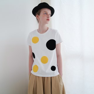Yellow and black dot white cotton T-shirt T-shirt - imakokoni