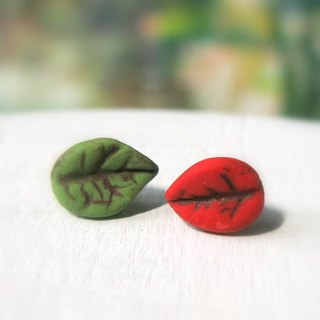 Leaf earrings green red leaves ear pin or ear hook gift for her / handmade gift