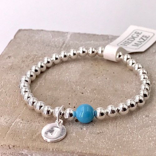 B10004(CHILD/LIGHT BLUE) Initial Silver 925 Bracelet