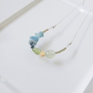 Summer Prehnite Olivine Aquamarine Crystal Gemstone Necklace