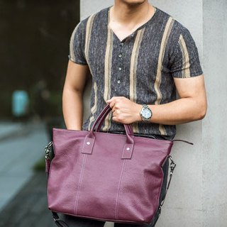 Big boy briefcase / Mr. Big Bag / cowhide / with side strap / violet / black